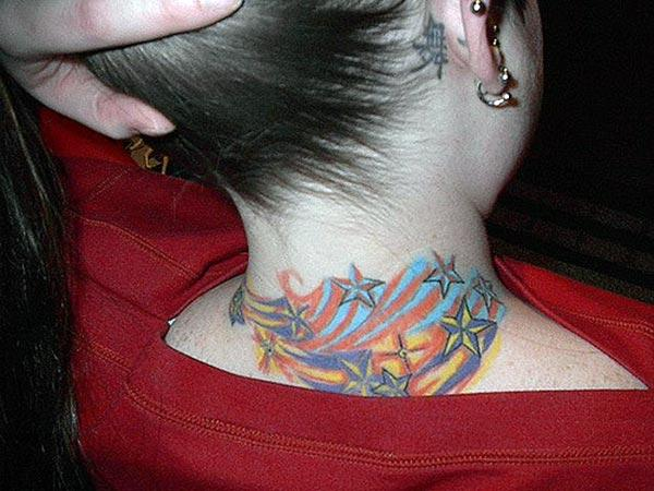 Neck tattoo with this ink mix design make a girl attractive and elegant