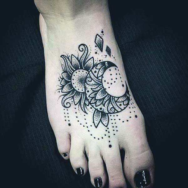 Foot Tattoo for girls with a flower design li face attente