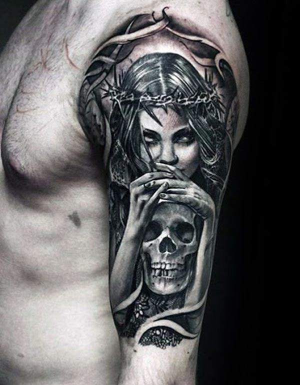 Half Sleeve Tattoo with a skull design, on the upper arm brings the spruce appearance in men
