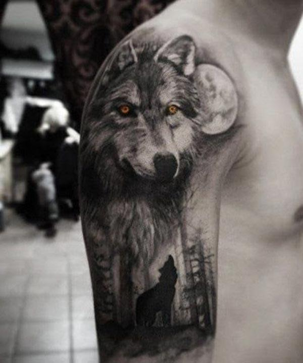 The Half Sleeve Tattoo on the upper right arm with dog image design make a man look admirable