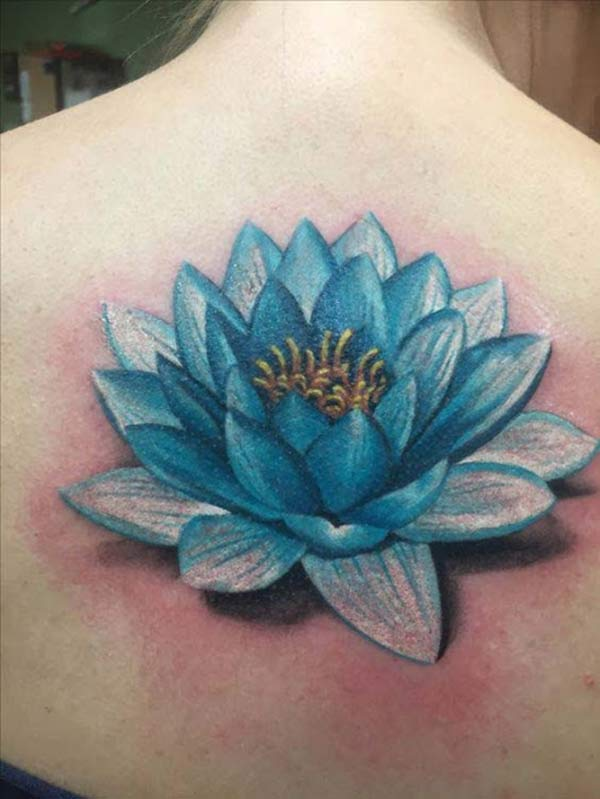This bright Lotus Flower tattoo design ink to make girls look more charismatic