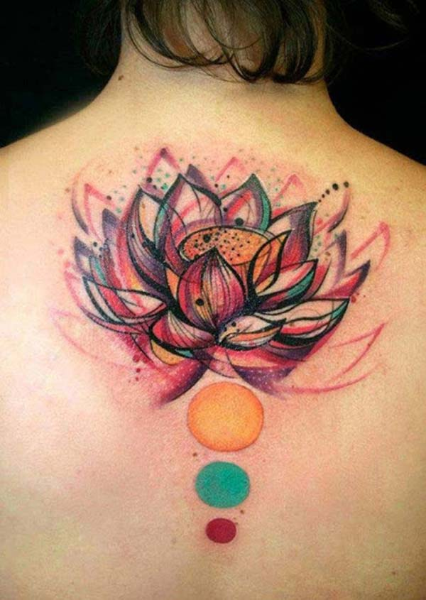 Lotus Flower tattoo at the back brings the captivating look