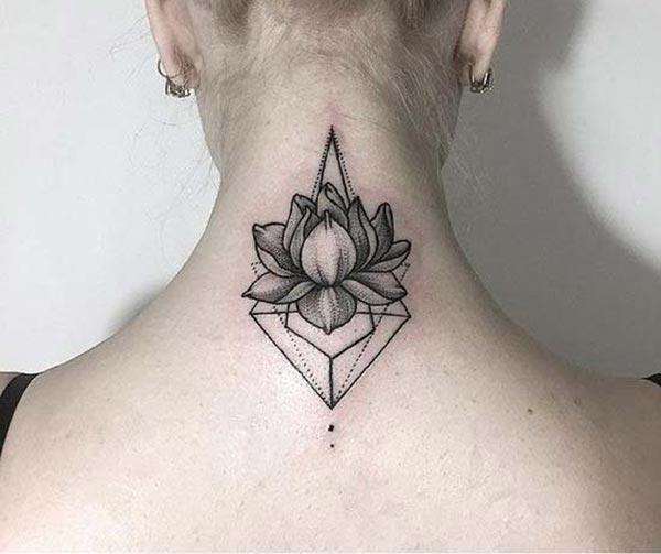 The Lotus Flower tattoo on the back makes girls have Stunning look