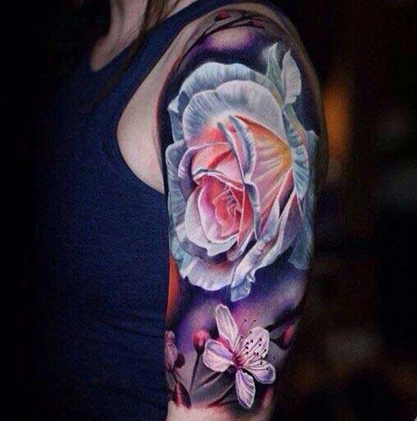 Rose tattoo for women with a bright ink design makes a them look cute