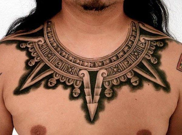 The Tribal tattoo on the upper chest make a man have a majestic appearance