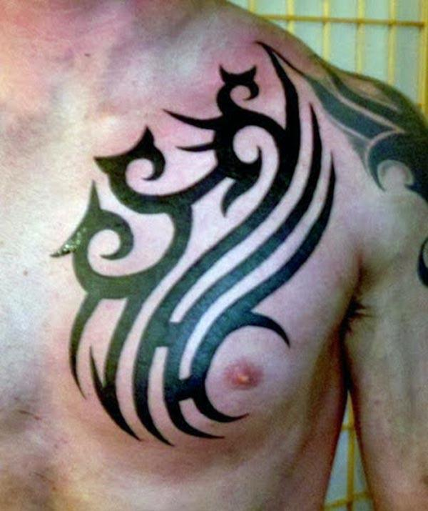 Tribal tattoo with a black ink design, on the upper chest brings the spruce appearance in men