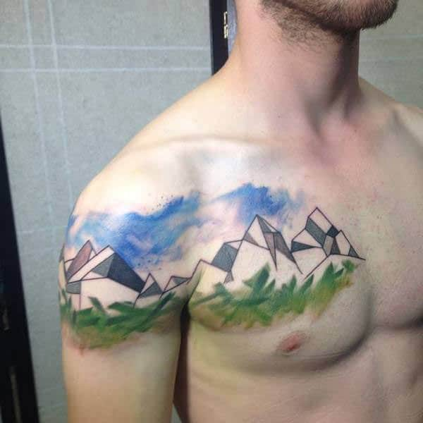 Cool and lively geometric landscape watercolor chest tattoo ink ideas for men