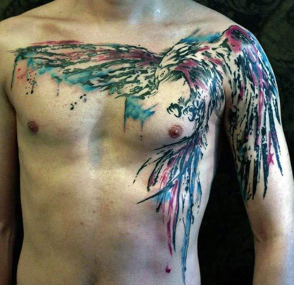 Striking and eye-catchy Eagle watercolor chest tattoo ink ideas for boys and men