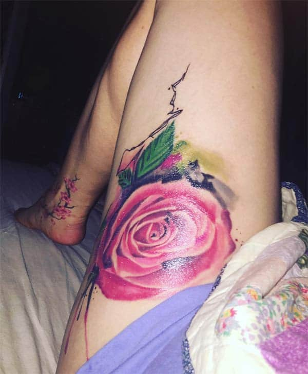 Nnukwu nnukwu pink rose watercolor thigh tattoo ideas maka Girls