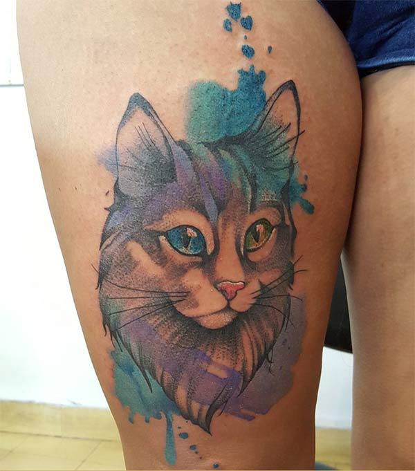 Adorable dreamy eyed cat face water tattoo thigh for Girls