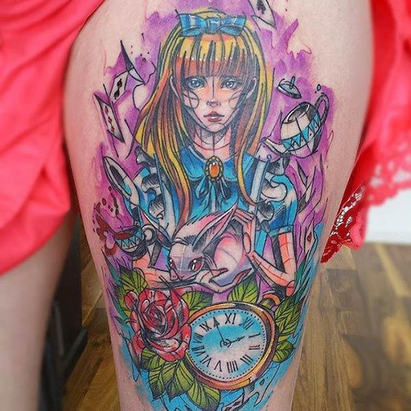 Captivating anime character with rabbit flowers clock idee tattoo or thigh for Anime loving Girls