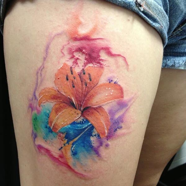 Dreamy colorful flower watercolor coffin, tatuaggi, idee per i zitelli è e donne