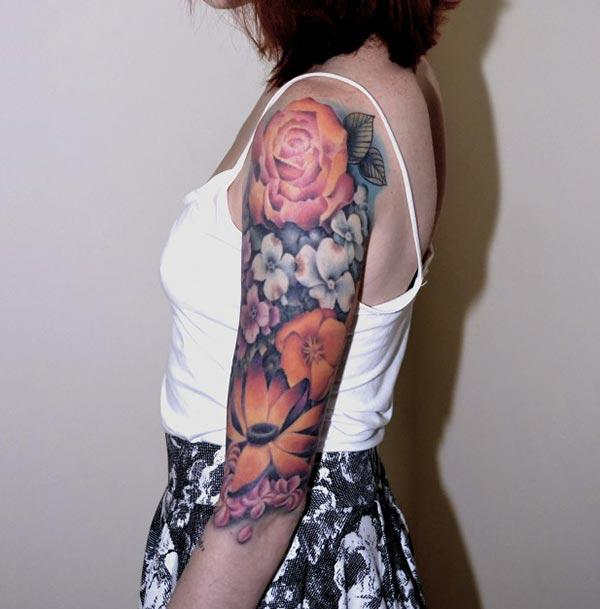 Hot neo traditional floral designs watercolor tattoo on arm for stylish women