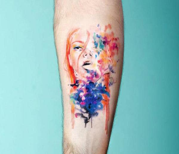 Stunning and vibrant chic face Water color Ink Arm tattoo ideas for Men