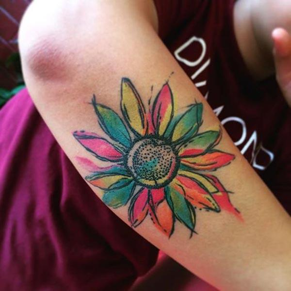 Brilliant and stunning Sunflower Water Color Ink Arm tattoo ideas for boys