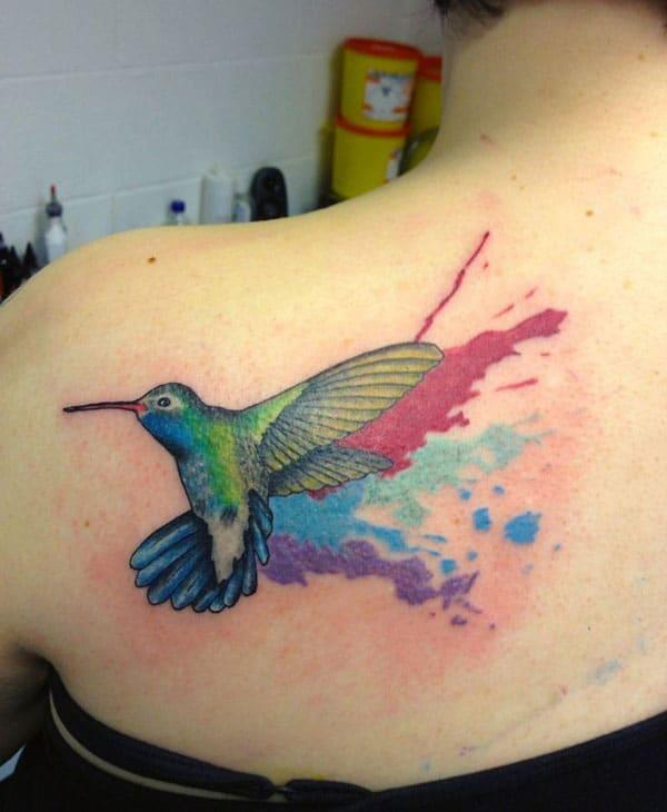 Enthralling hummingbird watercolor back shoulder tattoo ideas for Girls