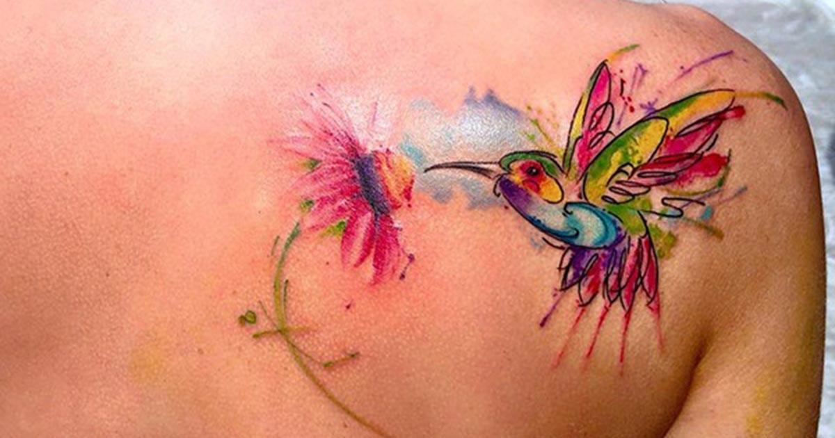 Back Shoulder Tattoos - Watercolor back shoulder tattoo for girls