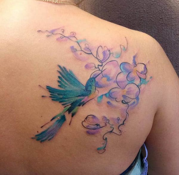 Charming bird and Continuous line butterflies tattoo ideas on back shoulder for Ladies