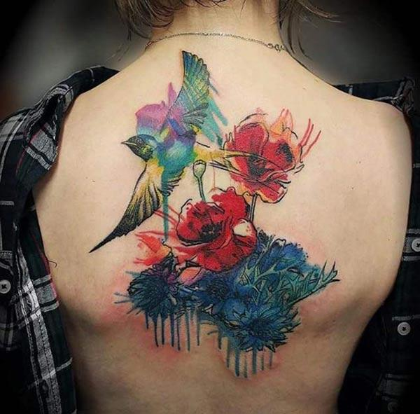 Mesmerizing red blue flowers and bird watercolor back shoulder tattoo ideas for Women