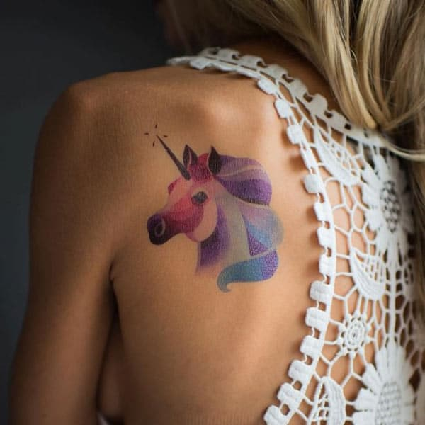 Heavenly Unicorn watercolor tattoo on back shoulder for Stylish girls