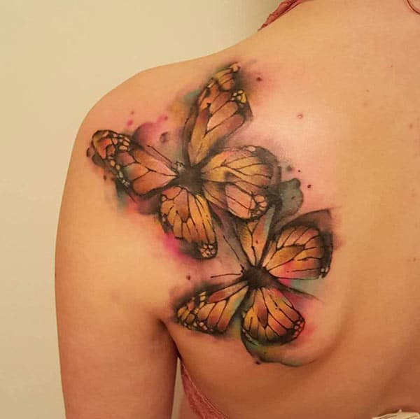 Attractive golden black butterflies watercolor back shoulder tattoo ideas for Women