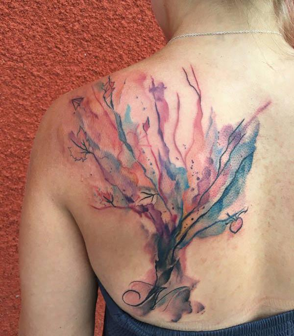 Back shoulder watercolor tattoo design of tree for Girls
