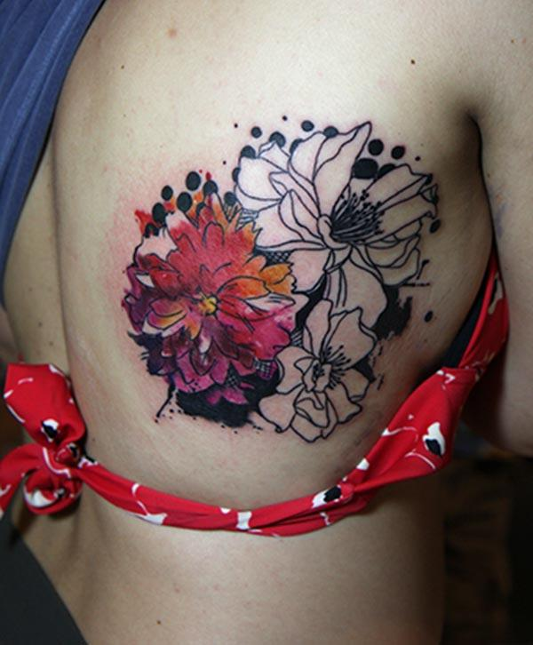 Delightful watercolor tattoo ideas of flowers on back shoulder for Girls