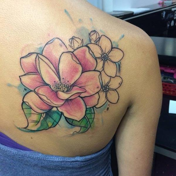 Huge pink flowers watercolor back shoulder tattoo ideas for Girls