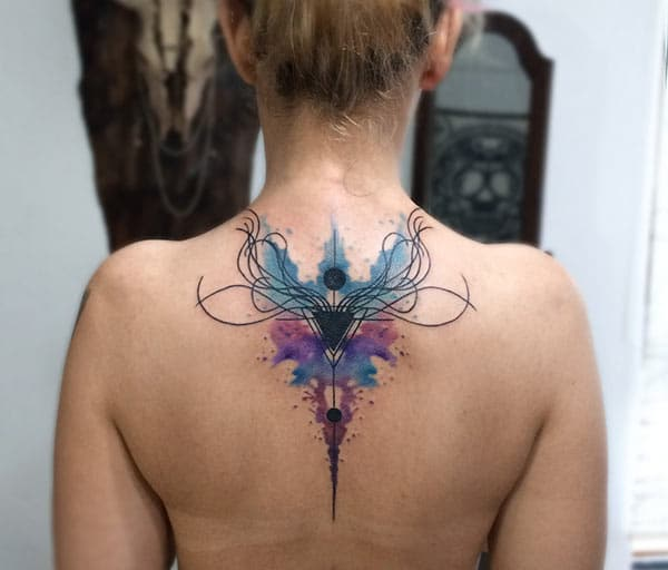 Beautiful Engrossing creative watercolor ink art tattoo ideas on back for Women