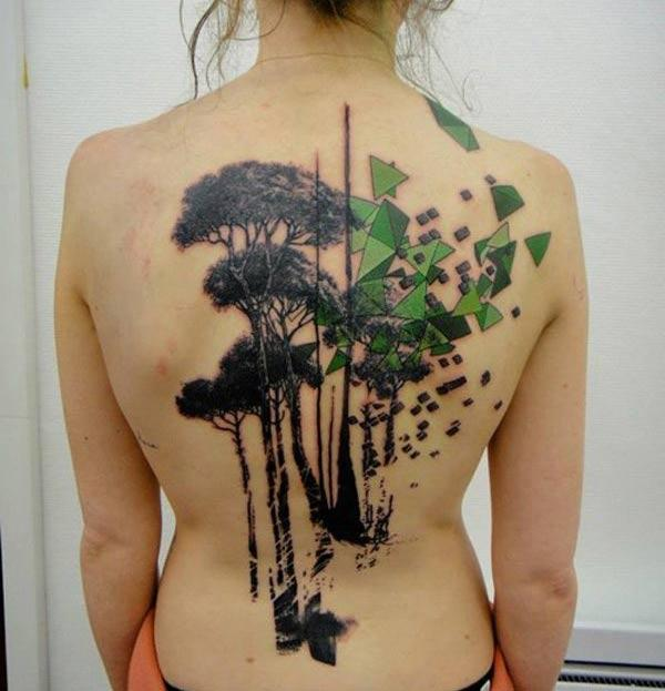Grey trees with pyramids watercolor back tattoo designs for Girls