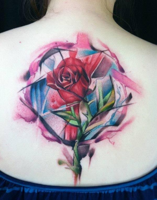Awesome Neo traditional rose watercolor back tattoo ideas for stylish women