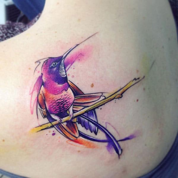 Beguiling beauty bird on branch watercolor back shoulder tattoo ink ideas for Girls