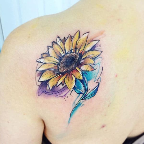 Awesome sunflower watercolor back shoulder tattoo ink ideas for Women