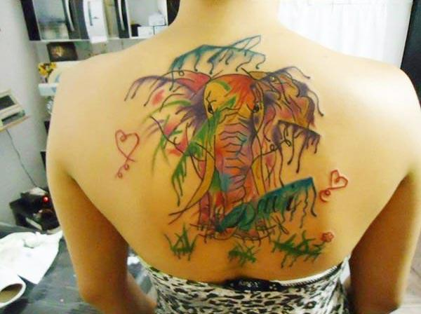 Attractive bright colored elephant leaves heart watercolor back tattoo ideas for Ladies