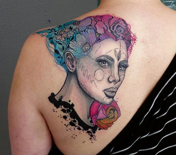 Captivating Woman face rose flower watercolor back shoulder tattoo ink designs for Fashionable women