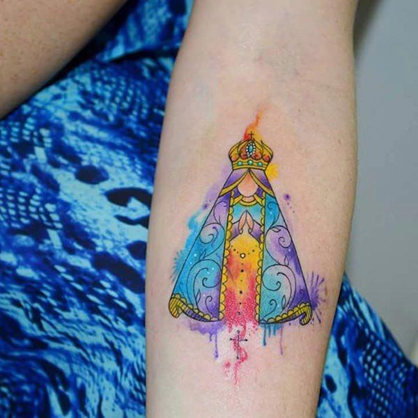 Mother Mary watercolor ink forearm tattoo ideas for women