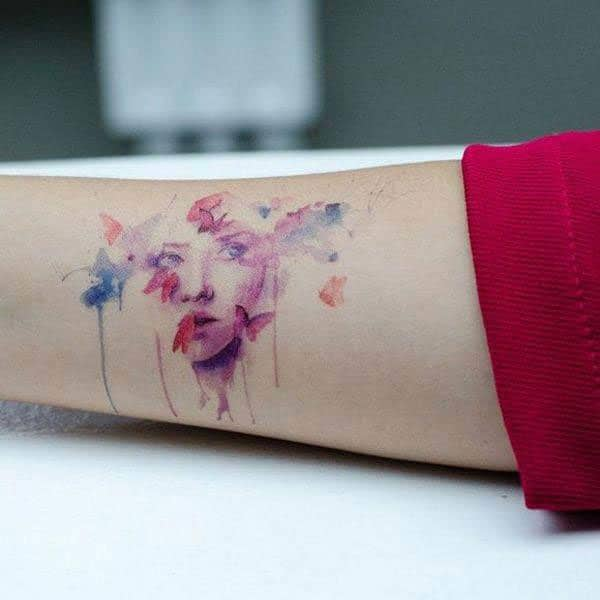 Stunningly beautiful women face and butterflies watercolor design tattoo on antique for girls stylish
