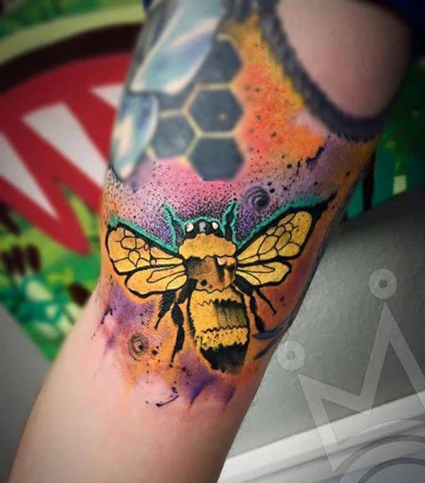 Graphical Bright golden watercolor bee n hive hand tattoo ideas for Females