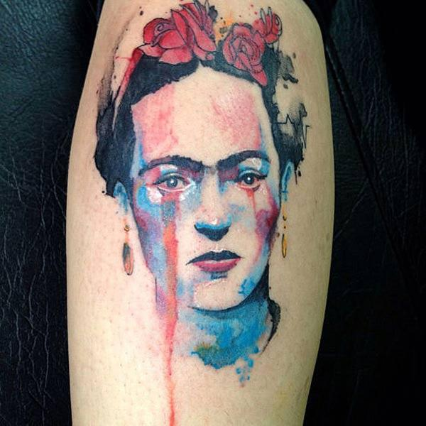 Beautiful stunning watercolor portrait of woman face tattoo on hand of ladies