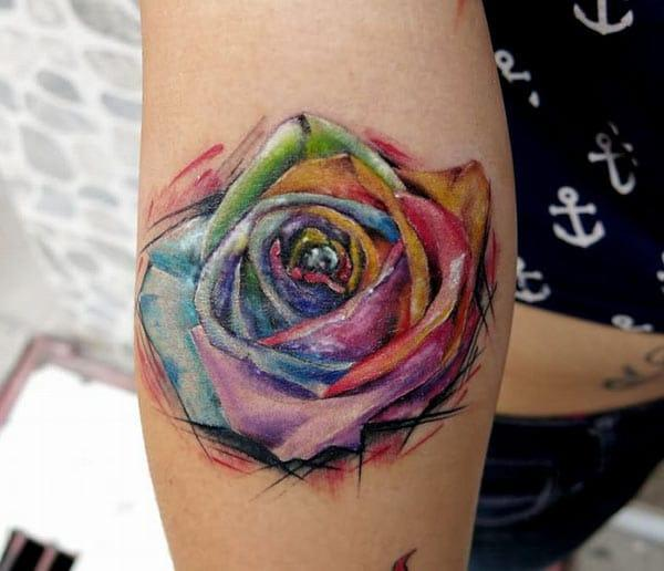 Rainbow colored neo traditional rose watercolor hand tattoo designs for girls