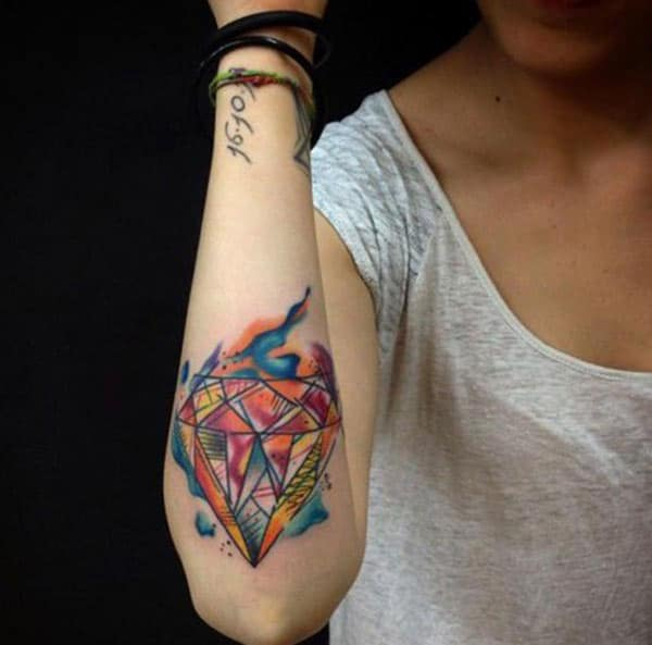 Jaw-dropping flashy geometric diamonds watercolor tattoo ideas for trend setter girls