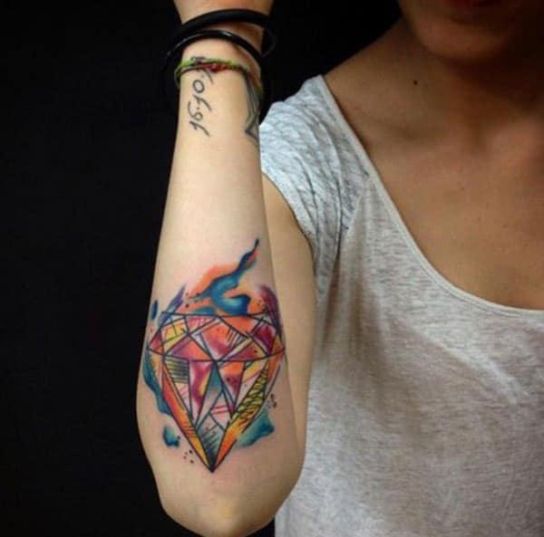 Rahang-muterna flashy geometric gagasan intan watercolor tattoo keur trend setter katresna