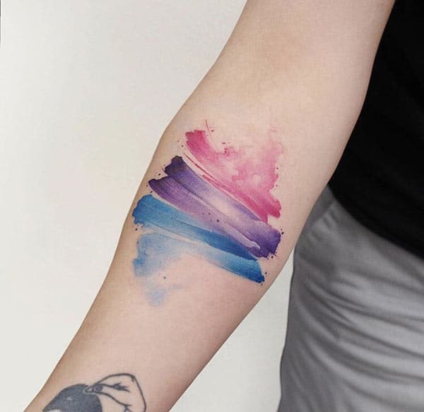Cool pintura stroke watercolor kamay tattoo ideya para sa Girls