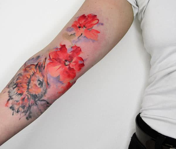 Fluorescent orange Mga bulaklak at owl tattoo disenyo sa kamay para sa naka-istilong Girls