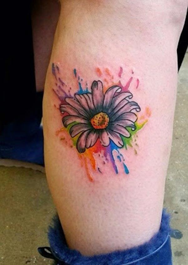 Attractive brilliant single big flower watercolor leg tattoo ideas for Girls
