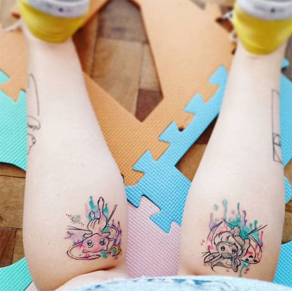 Adorable creative anime characters watercolor leg tattoo ideas for women