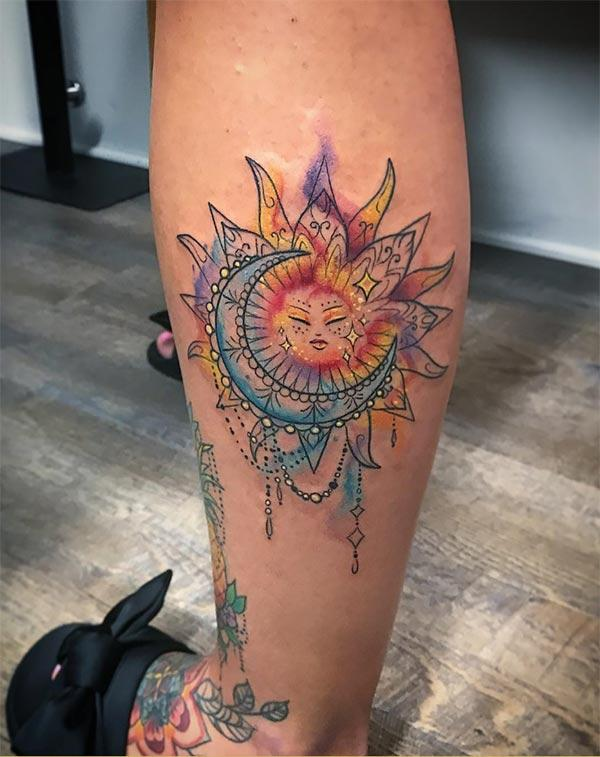 Beautiful ornamental sun moon watercolor tattoo ideas for Trendy girls