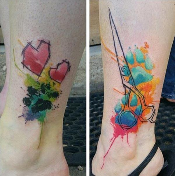 Cool Creative sketch line heart and scissors tattoo designs on legs for Stylish Girls