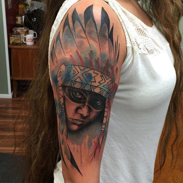 Stunning realistic tribal woman face watercolor tattoo ideas on shoulder for Women