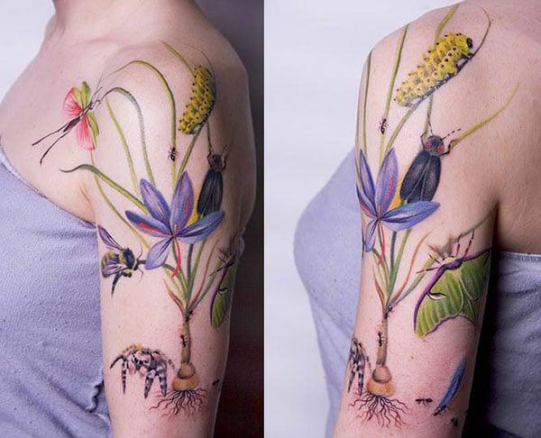 Creepy attractive insects on flower tattoo ink ideas on shoulder for Ladies